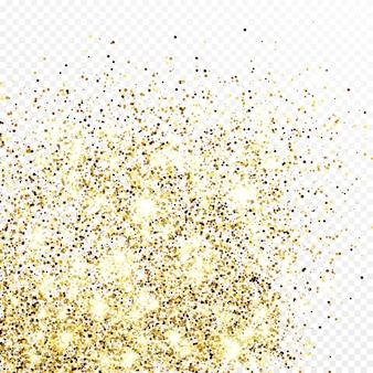 Tło konfetti złoty brokat na białym tle na przezroczystym tle. świąteczna tekstura z efektem lśniącego światła. ilustracja wektorowa.