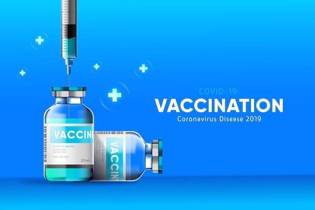 Tło koronawirusa z butelką szczepionki i strzykawką