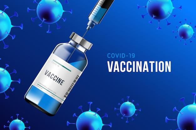 Tło koronawirusa z butelką szczepionki