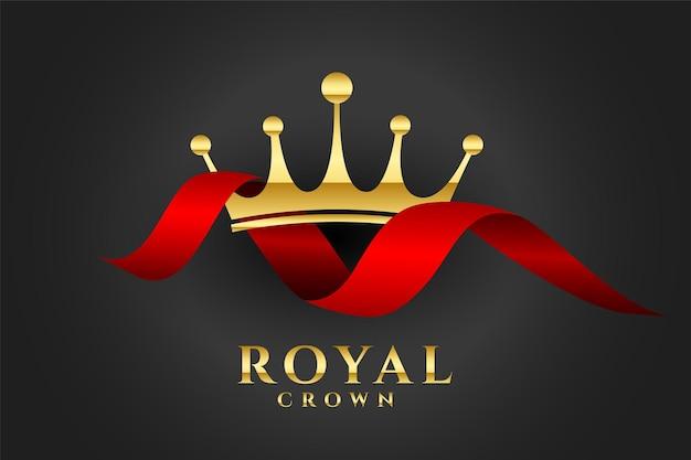 Tło korony królewskiej z czerwoną wstążką