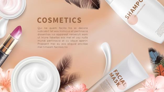 Tło kosmetyki. kremowe butelki i tubki do szminki z widokiem z góry. realistyczne makiety wektorów kosmetycznych. reklamowa pielęgnacja kosmetyczna, krem i makijaż ilustracja