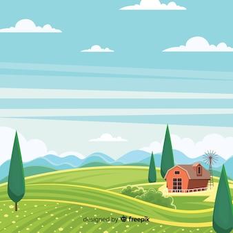 Tło krajobraz gospodarstwa płaski