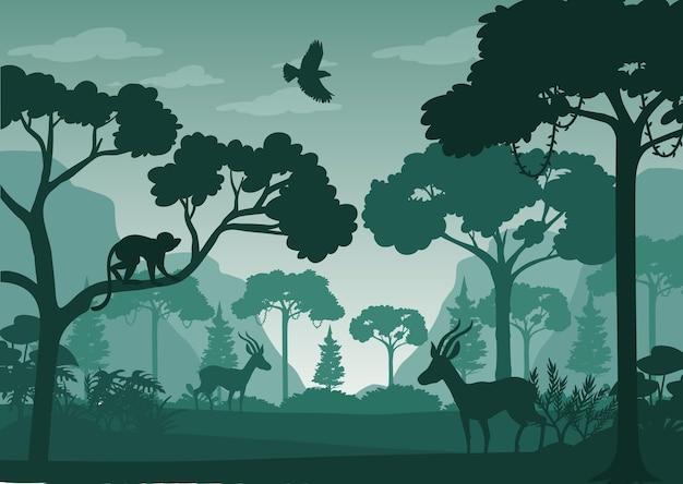 Tło krajobraz lasu sylwetka