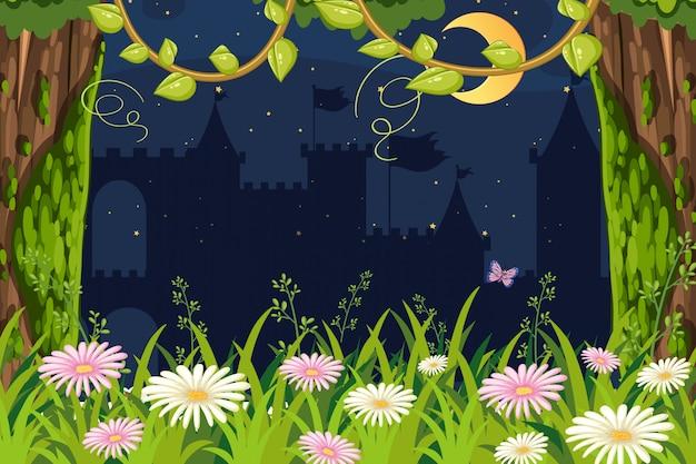 Tło krajobraz z ogródem przy nocą