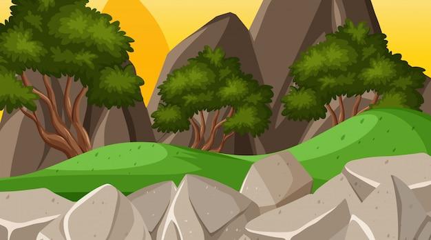 Tło krajobraz z wzgórzami i drzewami