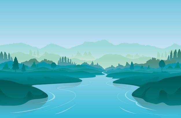 Tło krajobrazu rzeki lub jeziora