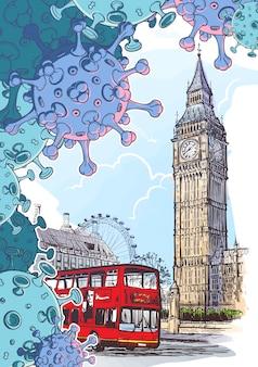 Tło krajowej kwarantanny. londyn ikoniczny widok z big benem i autobusem doubleledecker z cząsteczkami koronawirusa.