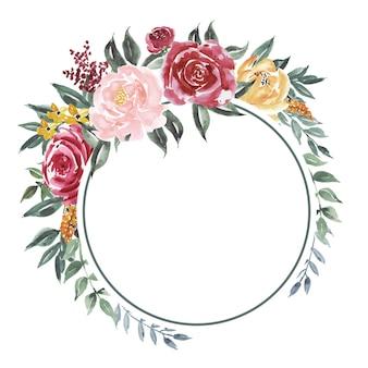 Tło kręgu starych kwiatów akwareli