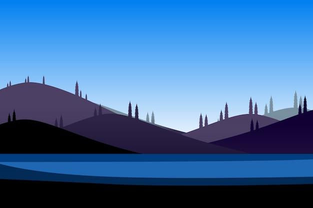 Tło kreskówka górski i niebieski niebo