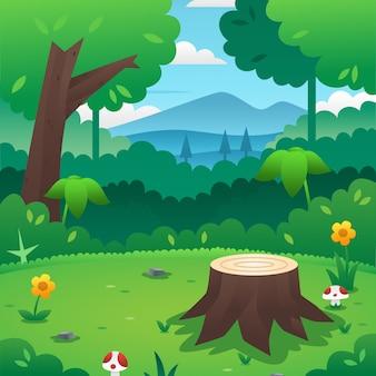 Tło kreskówka las