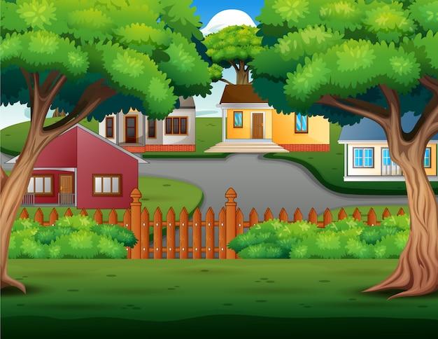 Tło kreskówka z pięknymi przytulnymi domkami