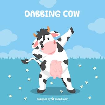 Tło krowa robi dabbing ruchem