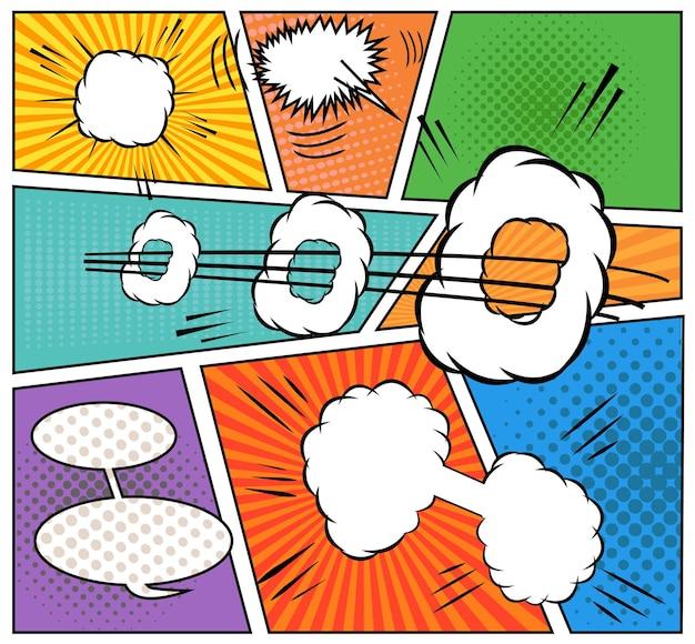 Tło książki komiksów. strona z komiksami z dymkami, efektami dźwiękowymi i halfrone. styl pop-art