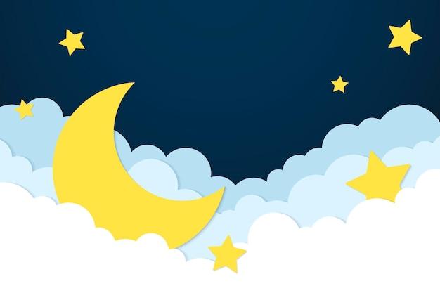 Tło księżyca i gwiazd, wektor pastelowego papieru wycinanego