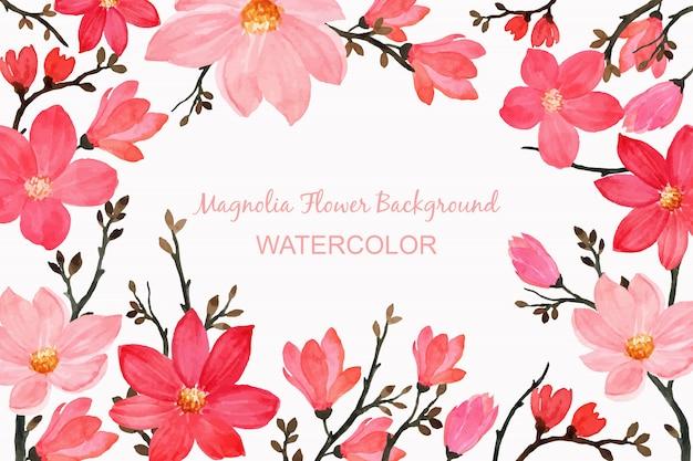 Tło kwiat magnolii z akwarelą