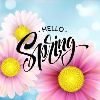Tło kwiat stokrotka i napis hello spring. ilustracja