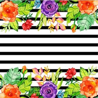 Tło kwiatowy czarny pasek
