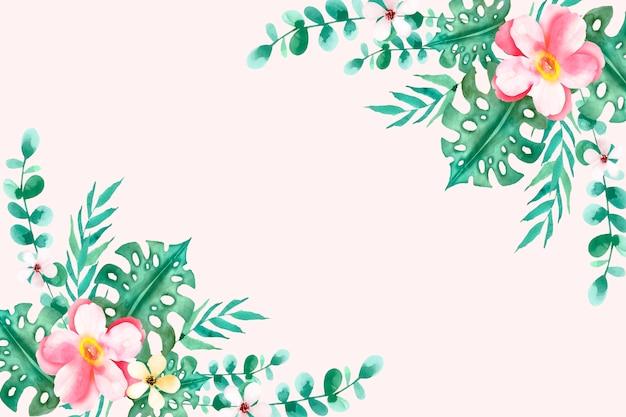 Tło kwiatowy lato akwarela