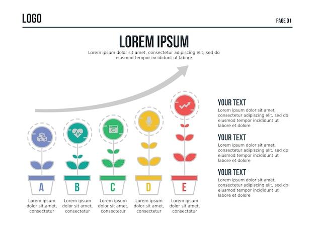 Tło kwiatowy prezentacji infografikę i statystyki slajdów szablonu