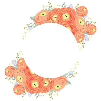 Tło kwiatowy rama z kwiatem ranunculus