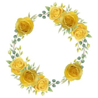 Tło kwiatowy rama z żółtych róż
