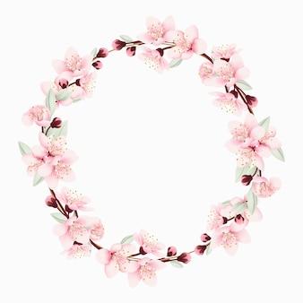 Tło kwiatowy ramki z kwiatów wiśni