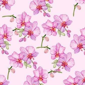 Tło kwiatu orchidei malowane akwarelą