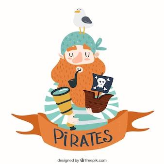 Tło ładny pirat z spyglass i łodzi