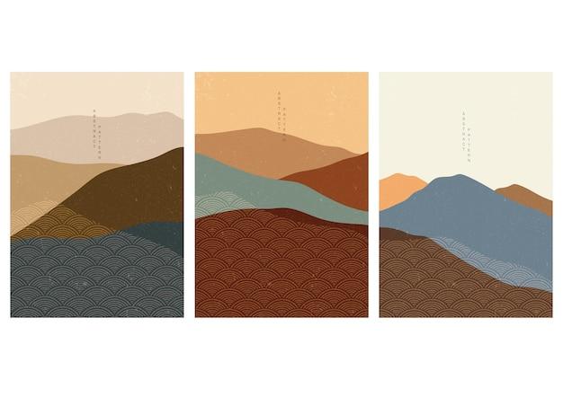 Tło las górski z wzór japońskiej fali. streszczenie szablon z geometrycznym wzorem. projekt układu krajobrazu w stylu orientalnym.
