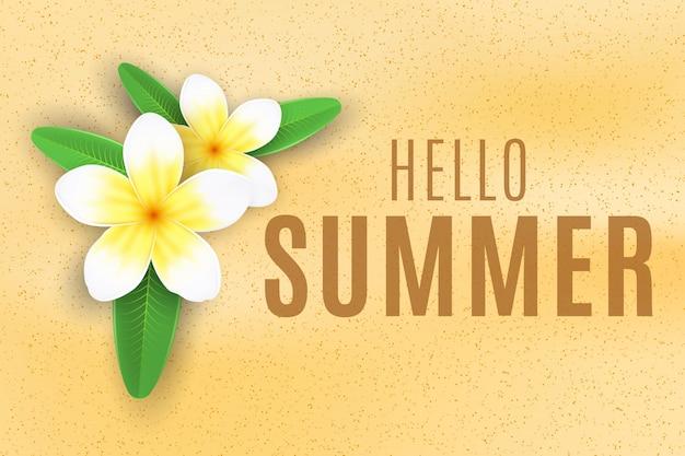 Tło lato. plumeria kwitnie na piasek plaży. sezonowa ochrona twojego projektu. ilustracja