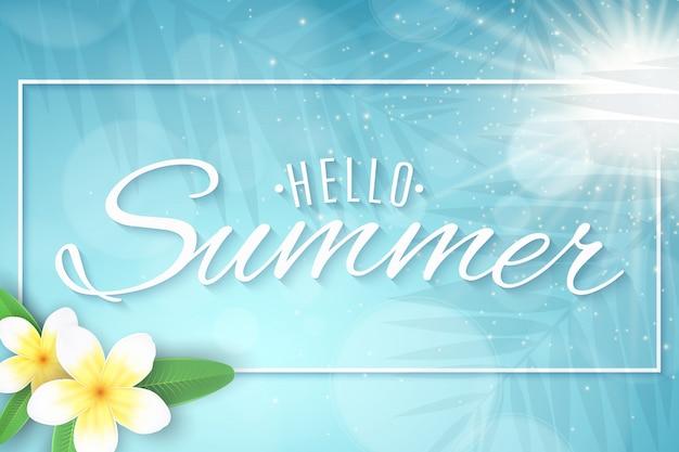Tło lato. słońce i światła bokeh. realistyczne 3d tropikalne kwiaty plumeria. stylowy napis do twojego projektu. sylwetka liścia palmy. ilustracja