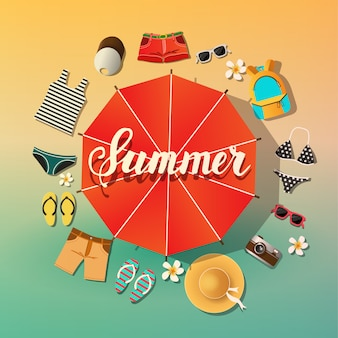 Tło lato. symbole letnie znajdują się wokół parasola od słońca plaża i morze. literowanie