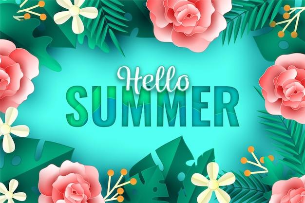 Tło lato w stylu papieru z kwiatami