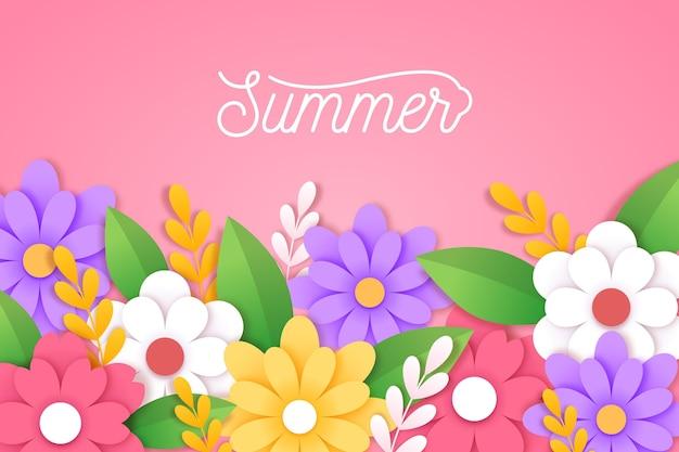 Tło lato w stylu papieru