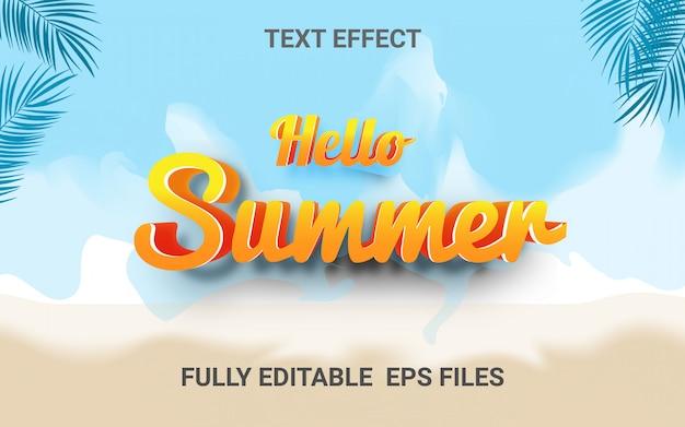 Tło lato z edytowalnym efektem tekstowym
