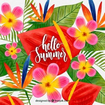 Tło lato z kolorowych kwiatów akwarela