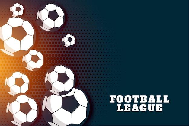Tło ligi piłki nożnej z wieloma piłkami nożnymi