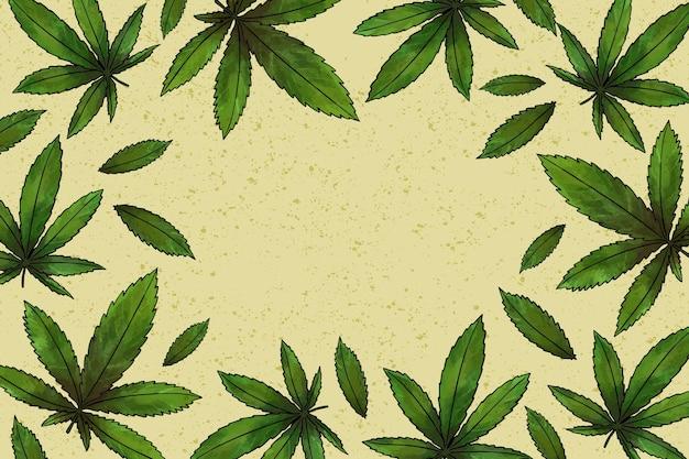 Tło liści botanicznych konopi