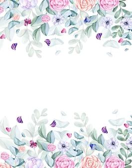 Tło liści i kwiatów pomalowane akwarelą
