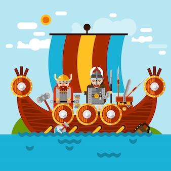 Tło łodzi wikingów