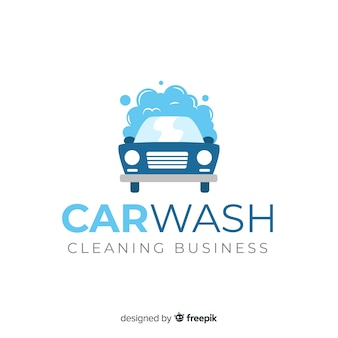 Tło logo płaski myjnia samochodowa