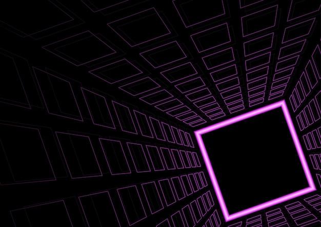 Tło lub tło fioletowych świecących kwadratów w tunelu