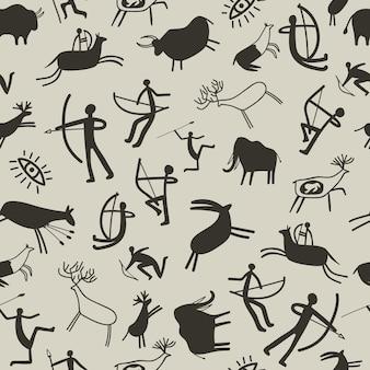 Tło malarstwo jaskiniowe. malarstwo skalne z epoki kamienia bezszwowe wzór z prehistorycznymi zwierzętami i starożytnymi myśliwymi, wektor jaskiniowy rysunek tekstury