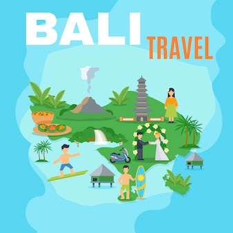 Tło mapa bali travel