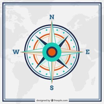 Tło mapa świata z kompasem w płaskim stylu