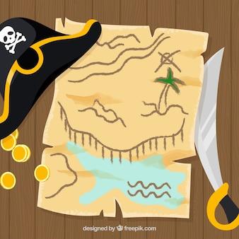 Tło mapy skarbu z kapeluszem i mieczem
