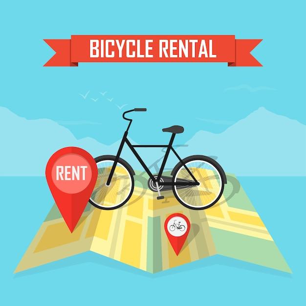 Tło mapy wynajem rowerów wektor