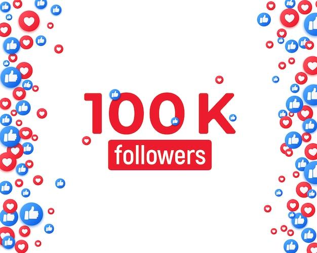 Tło mediów społecznościowych, pływające jak i kciuk w górę ikony. dziękuję obserwującym szablon postu. symbole serca i dłoni.