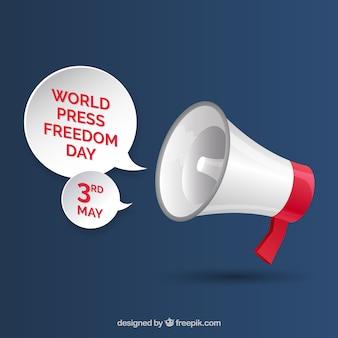 Tło megaphone dla świata wolności prasy