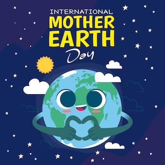 Tło międzynarodowego dnia ziemi matki w płaskiej konstrukcji